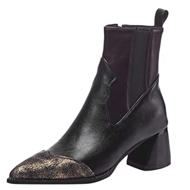 aa784d919189e DENER❤ Women Ladies Leather Ankle Boots with Chunky Heels, Retro ...