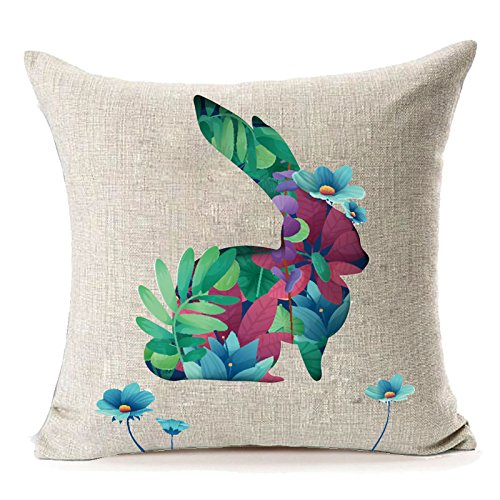 MFGNEH Happy Easter Spring Home Decor Cotton Linen Pillow Covers 18 x 18, Cute Rabbit Throw Pillow Case Cushion Covers