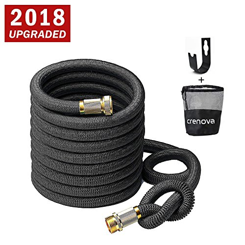 CRENOVA Garden Hose, 50ft Garden Hose, Upgraded Expandable Water Hose with Double Latex Core, 3/4 Solid Brass Connectors, Extra Strength Textile, Easy Dry Storage Bag and Durable Garden Hose Holder