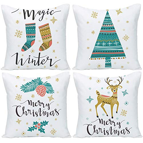 "Wilproo Set of 4 Merry Christmas Socks Forest Deer Tree Cotton Linen Square Throw Waist Pillow Case Decorative Cushion Cover Pillowcase for Car Couch Sofa 18""x 18"""