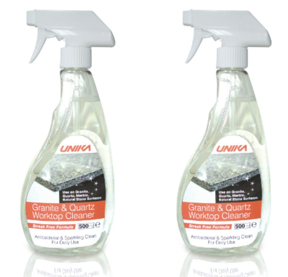 Unika Granite & Quartz Worktop Cleaner 500ml Sparkling Spray Cleaner x2