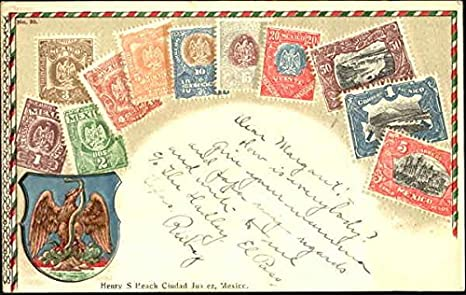Mexican Stamps Stamp Postcards Mexico Original Vintage Postcard