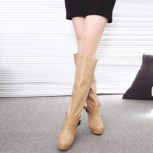 {冬ブーツ}、Hunzedレディースファッション{ Faux Warm足首}ブーツメス{ベルトハイヒールシューズ}レディースカジュアル{バックルマーティンブーツ}靴