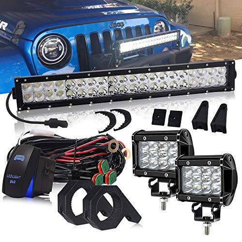 DOT 22 Inch 120W LED light bar + 2PCS 4 In Triple Row Cube Pods Driving Lights W/Rocker Switch DT Connector Wiring Harness For Offroad Boat SUV ATV Golf Cart UTV Truck Jeep Wrangler Polaris RZR Dodge