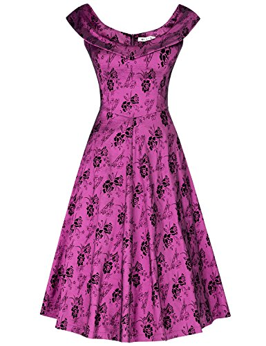 MUXXN Lady Celebrity Classy Hollow Out Tunic Slim Mother of Bride Tea Dress (New Purple XXL)
