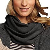 Parisbonbon Women's 100% Cashmere Solid Infinity Scarf Color Dark Gray One Size