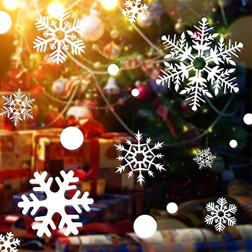 Kaqulec Christmas Decorations Window Cling- Ornaments Snowflakes Sticker 170pcs White Snow Stickers Winter Wonderland Home Office Xmas Party Supplies(2 Sheets)