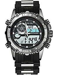 Men's Sports Watches Military Multi-functional Backlight Big Face Analog Digital Watch with Black Silicone Strap