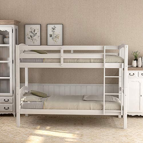 Twin Bunk Bed, Solid Wood Twin Over Twin Bunk Bed Frame with Ladder for Kids, Teens White