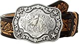 Nocona Boy's Rectangular Horse Head Buckle Belt, Brown, Tan, 28