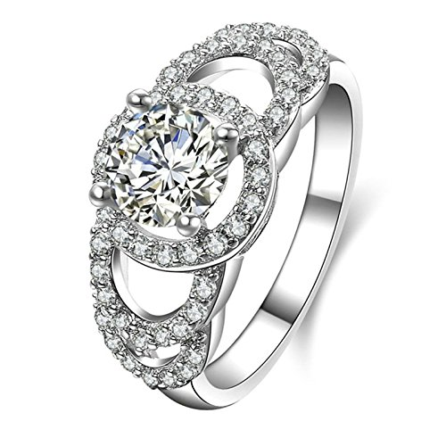 Aokarry Ladies Jewelry 925 Sterling Silver Wedding Rings Women Halo Ring 4-Prong Setting Round Cubic Zirconia Size 8.5
