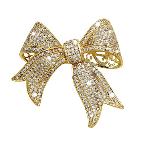 WeimanJewelry Real Gold Plated Cubic Zirconia Ribbon Bridal Bowknot Bow Brooch or Pendant for Women(gold) by WeimanJewelry