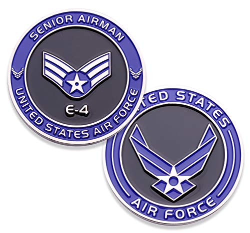 (Air Force Senior Airman E4 Challenge Coin! United States Air Force Senior Airman Rank Military Coin. E-4 USAF Challenge Coin! Designed by Military Veterans - Officially Licensed Product!)