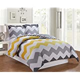 3piece fine printed chevron zigzag duvet cover set queen size series high thread count brushed microfiber luxury soft durable yellow grey