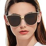 Polarized Oversized Frame 100% UV Protection Fashion Cateyes Style Sunglasses Eyewear for Women (Nude, Brown)