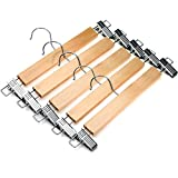 JS HANGER Natural Finish Wooden Pant Skirt Hangers with 2-Adjustable Anti-Rust Clips, 5-Pack
