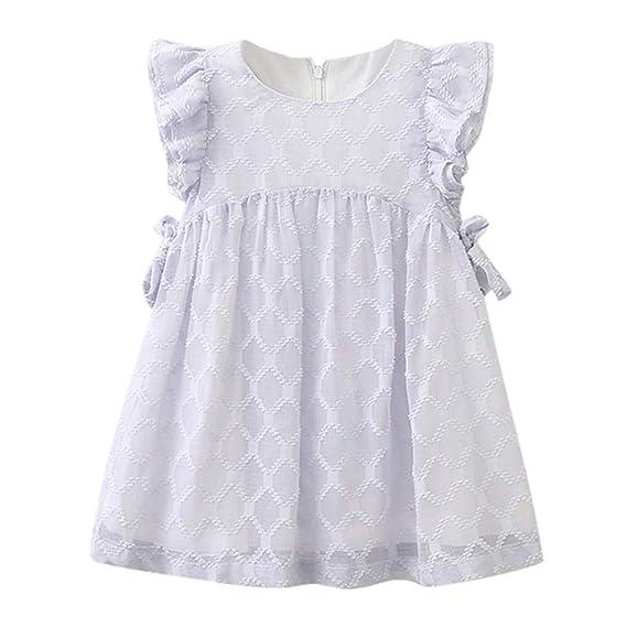 Gusspower Falda Vestido de Ceremonia Bautizo para Bebés Niñas Vestido de Princesas de Manga Volando Gasa