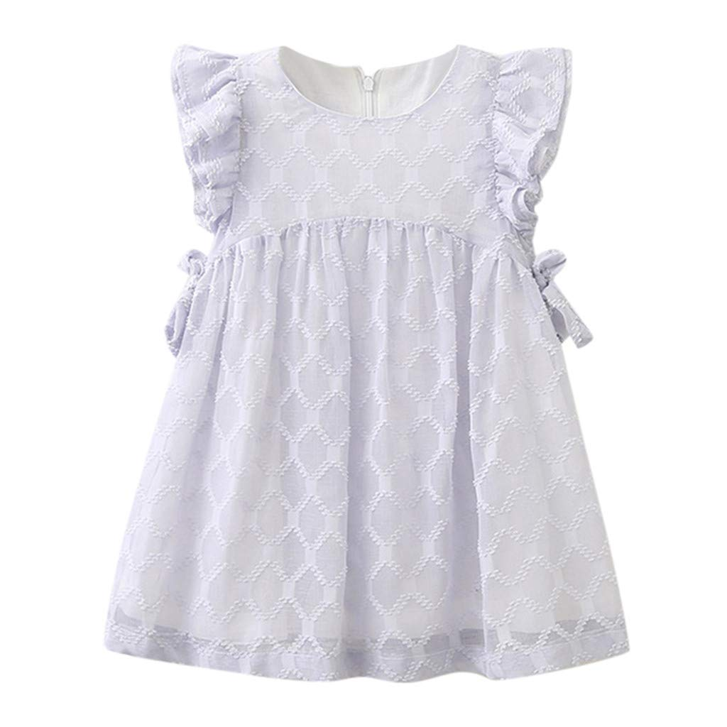 Dsood Toddler Girl Dress,Toddler Kids Baby Girls Clothes Chiffon Bowknot Party Pageant Princess Dress,Girls' Dresses,Light Blue,3-4T