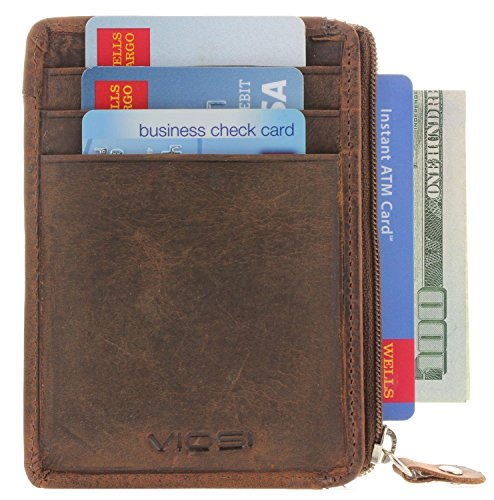 Slim Minimalist Front Pocket Leather Wallets for Men - Provides RFID Protection with Zipper and ID Window (Hunter)