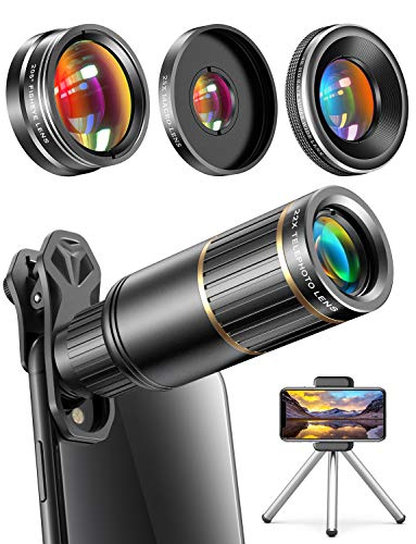 affordable CoPedvic Phone Camera Lens Phone Lens for iPhone Samsung Pixel Android, 22X Telephoto Lens, 4K HD 0.67X Super Wide Angle Lens25X Macro Lens, 205° Fisheye Lens, Work as Telescope with Metal Tripod