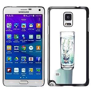 YOYOYO Smartphone Protección Defender Duro Negro Funda Imagen Diseño Carcasa Tapa Case Skin Cover Para Samsung Galaxy Note 4 SM-N910F SM-N910K SM-N910C SM-N910W8 SM-N910U SM-N910 - agua de cristal blanco minimalista dieta limpia
