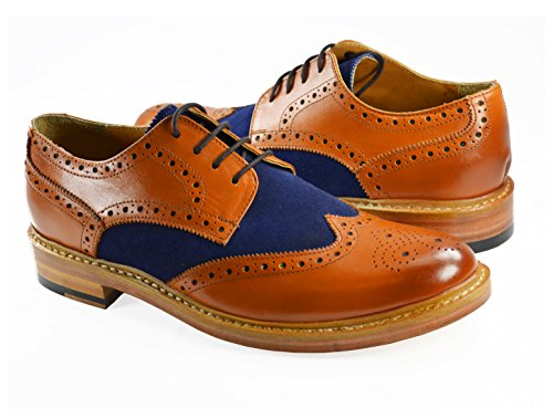 Paul Malone Oxford Dress Shoes . Tan and Navy . 100% Leather