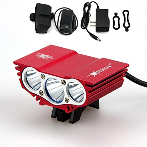 Illustrious 4 Switch Modes 6000Lm 3x LED Bike Light Bicycle Waterproof Headlight Color Red with Battery Charger