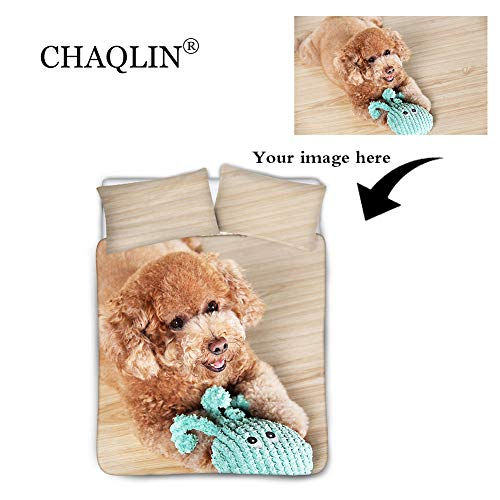 chaqlin Custom Your Photos Comforter Cover Bedding Set 3 Piece 1 Duvet Cover&2 Matching Pillow Shams Cartoon Bedding Sheet Set King Size(104X88inches) n- Beige Lining