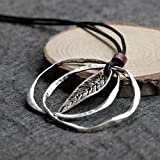 Taniya Produced Literary Cotton Women's Accessories Thai Silver Necklace Pendant Small Leaves