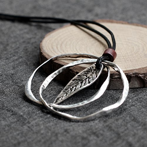 Taniya Produced Literary Cotton Women's Accessories Thai Silver Necklace Pendant Small Leaves by PAGIPEN