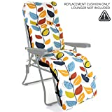 Sun Lounger Reclining Recliner Chairs Outdoor Garden Patio Relaxer with Cushion (Replacement Cushion ONLY, Leaves)