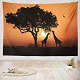 ASOCO Tapestry Wall Handing South African Sunset Africa Africa Sunset African Dawn Animal Clouds Color Wall Tapestry for Bedroom Living Room Tablecloth Dorm 60X80 Inches