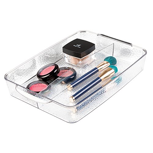 mDesign Cosmetic Organizer Tray for Vanity Cabinet to Hold Hair Brushes, Makeup, Beauty Products - Clear