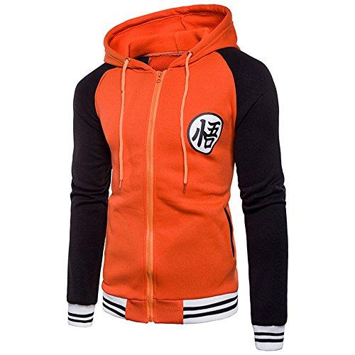 CHENMA Men Dragon Ball Goku Long Sleeve Full-Zip Bomber Jacket Hooded Varsity Jacket -