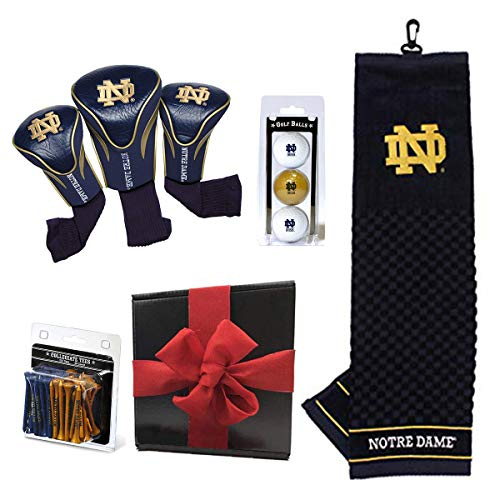 Team Golf Ultimate NCAA Golf Gift Box Bundle | Includes Headcovers (3-Pack), Team Towel, Balls (3-Pack) & Pack of Logo Tees (50-Count) | PlayBetter Gift Box, Red Box (University of Notre Dame)