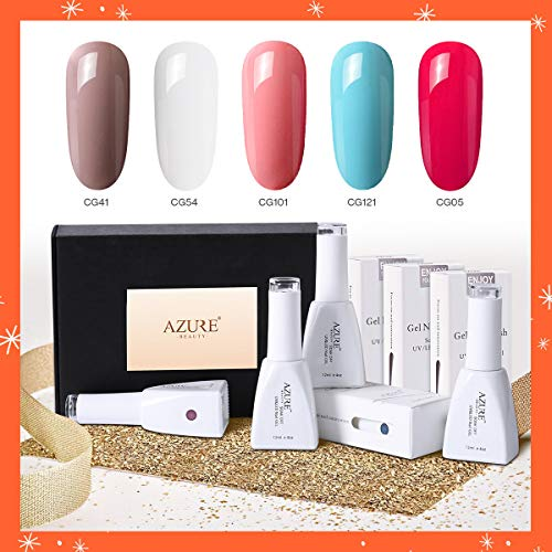 Gel Nail Polish Set with Gift Box(12ml) Nude Colors Soak Off UV LED Gel Polish Required Base and Top Coat
