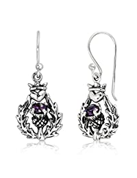 WithLoveSilver 925 Sterling Silver Classic Scottish Thistle And Heart Simulated Purple Cubic Zirconia Dangle Earrings