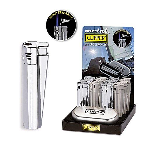 CLIPPER Jet Flame Torch Cigarette Cigar Butane gas Metal Lighter (Silver)