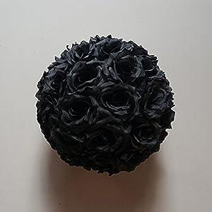 10 Pack 10 inch Romantic Rose Pomander Flower Balls Rose Bridal for Wedding Bouquets Artificial Flower Black 15