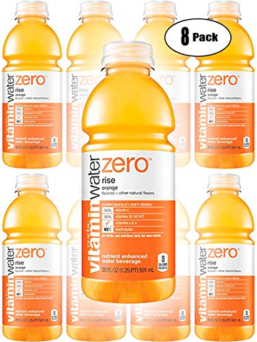 Vitamin Water Zero, Orange - Rise, 20oz Bottle (Pack of 8, Total of 160 Oz)