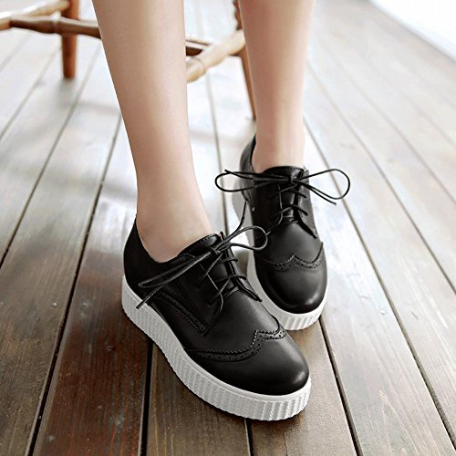 Latasa Womens Lace up Inside Wedges Oxford Shoes Black dJY7Ikn5
