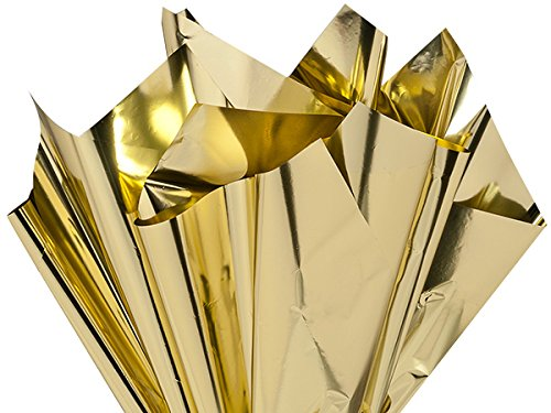 Metallic & Opal Cello Wrap - 50 Sheet Pack Metallic Gold 18''x30'' Sheets .48 Gauge (2 Packs; 50 Sheets Per Pack) - WRAPS - RMSMGO by Miller Supply Inc