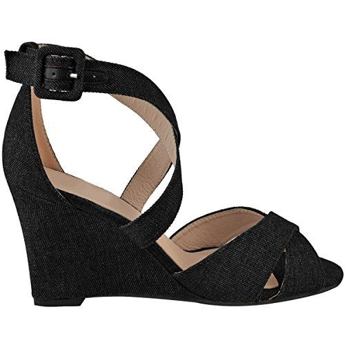 Ouvert Boucle Fashion Noir compensé Été Lanière à Bout Sandales Jean Talon Confort Thirsty Femme p8zprqH