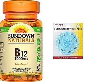 Sundown Naturals vitamina B12 1000 mcg, 120 tabletas de liberación de tiempo con gratis 7