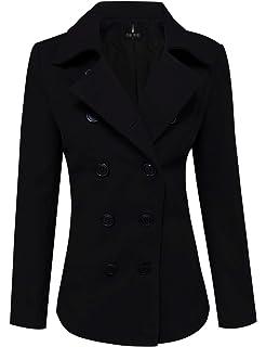ccf73e872e9 Amazon.com  L.V.Y Women Trench Coat Jacket Parka Slim Fit Peacoat ...