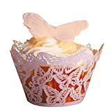 Paper Orchid Butterflies Cupcake Wrapper Lavender, Set of 12