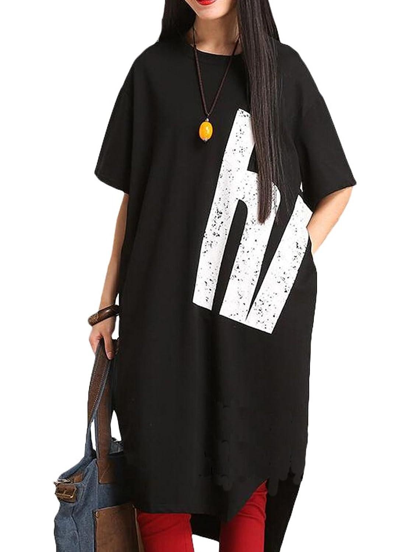 MatchLife Damen Drucken T-shirt Rundhals Kleider