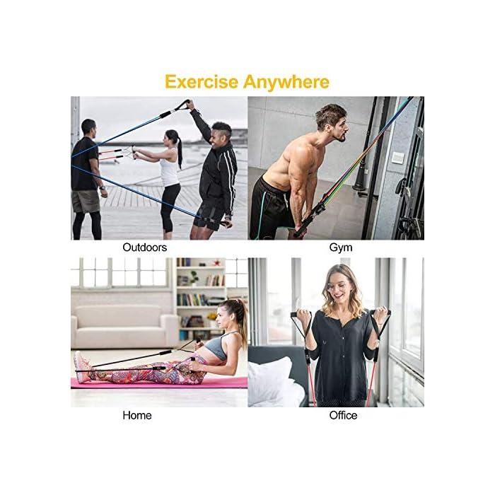 51Qid1krU8L 💪【Cinco niveles elasticos fitness musculacion diferentes】10LSB, 20LSB, 30LSB, 40LSB, 50LSB, bandas de resistencia multifuncional con cinco niveles diferentes de tubo de tensión, se puede utilizar para el entrenamiento de cuerpo completo. Cada banda de resistencia tiene un color diferente, puede identificar inmediatamente por color. También puede usarlo en cualquier combinación y cambiar los métodos de entrenamiento regulares para que su entrenamiento sea más interesante. 💪【Adecuado para todas las personas】Si usted es un hombre o una mujer, un principiante en acondicionamiento físico o un atleta profesional, puede usar estas bandas de resistencia fitness para el yoga, varios ejercicios musculares y cuerpo recuperarse son también muy efectivos. Puede entrenar los músculos abdominales, los hombros, los músculos pectorales, los músculos de los brazos y otras partes para satisfacer sus necesidades de entrenamiento. 💪【Uso de alta látex bandas de resistencia difícil de romper】Bandas elasticas musculacion con material de látex natural con selección estándar internacional. En comparación con los productos plásticos ordinarios, bandas de resistencia tiene mejor resistencia a la tracción y fuerza de tracción uniforme, a prueba de insectos, no es fácil de envejecer, es más ecológico y tiene una vida útil más larga. Acompañantes para su seguridad.