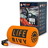 Life Bivy Emergency Sleeping Bag Thermal Bivvy - Use as Emergency Bivy Bag Survival Sleeping Bag Mylar Emergency Blanket Survival Gear - Includes Nylon Sack with Survival Whistle + Paracord String