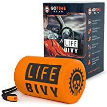 Life Bivy Emergency Sleeping Bag Thermal Bivvy - Use as Emergency Bivy Sack, Survival Sleeping Bag, Mylar Emergency Blanket, Survival Gear - Includes Nylon Sack with Survival Whistle + Paracord String